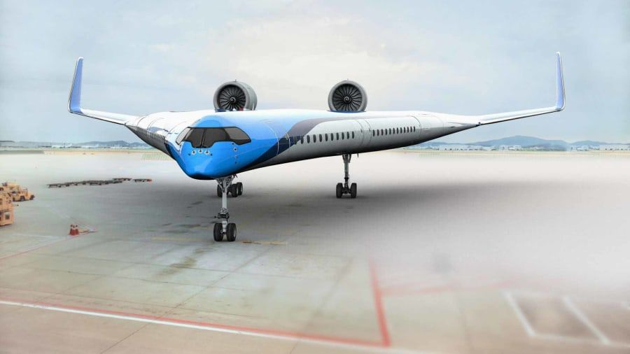 Klm To Fund Development Of Fuel Efficient Flying V Plane Airplane Design Plane Design Aircraft