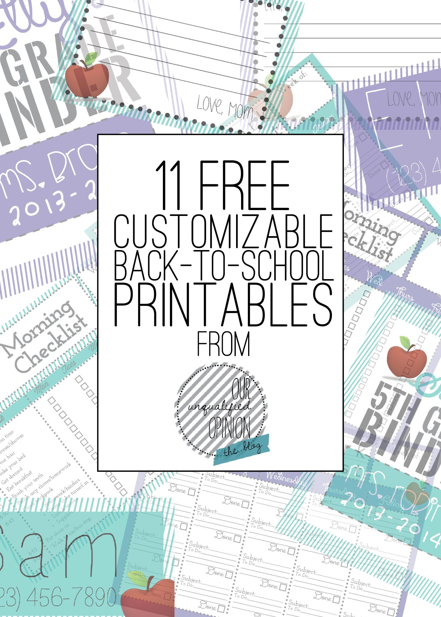 Free Customizable Back To School Printables Ourunqualifiedopinion