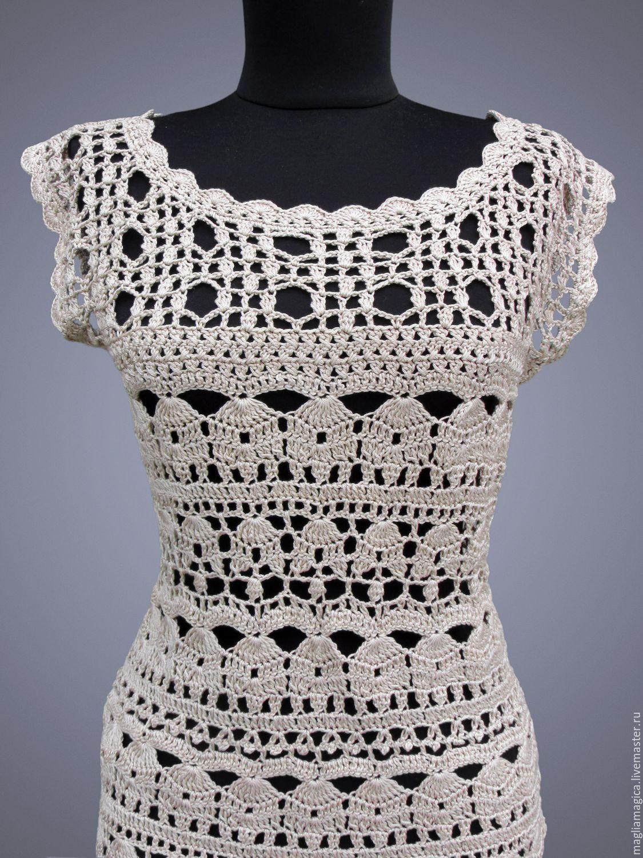Купить Catherine Beige - бежевый, однотонный, платье, платье летнее, платье вязаное, платье крючком