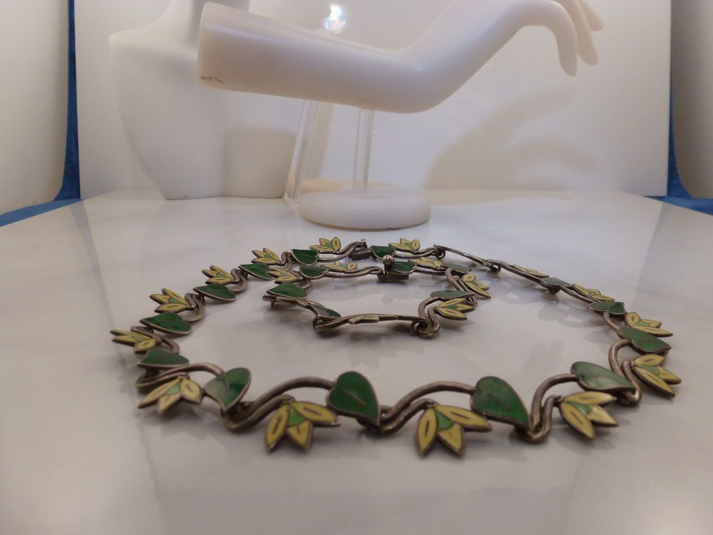VINTAGE 1940'S MARGOT DE TAXCO STERLING SILVER & ENAMEL NECKLACE & BRACELET SET #MargotdeTaxco