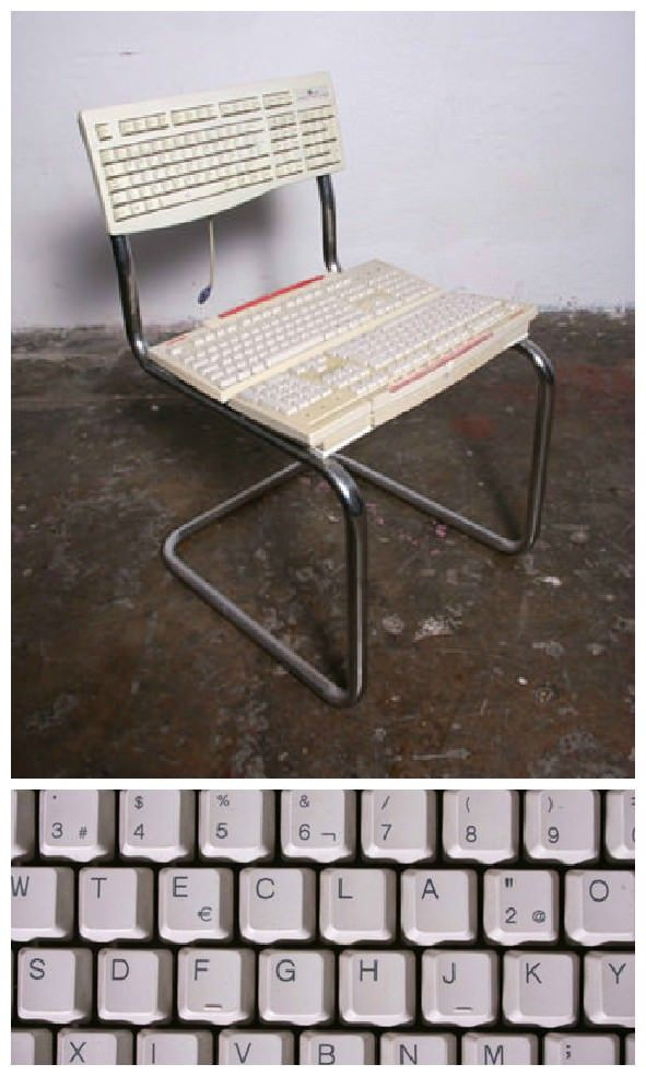 Xan and Pablo redesign furniture and objects from things found in the garbage always with a little sense of humor and fun. #Chair #Computer # Keyboard ...  sc 1 st  Pinterest & Keyboard Chair | Pinterest | Computer keyboard and Repurposing