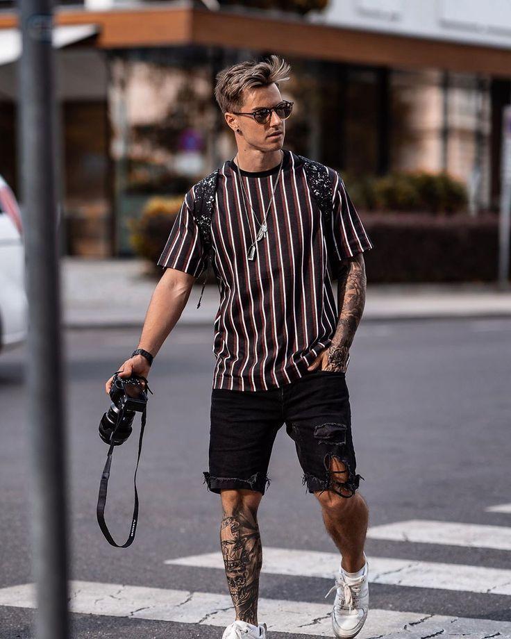 Photo of Streetstyle Sommeroutfit für Herren mit Streifenmuster. -… – MyMen2 – Shorts …