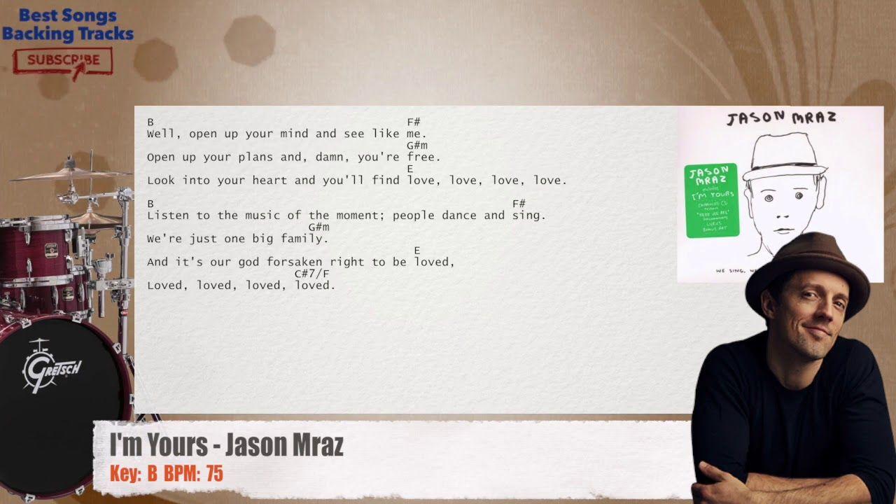 I M Yours Jason Mraz Drums Backing Track With Chords And Lyrics