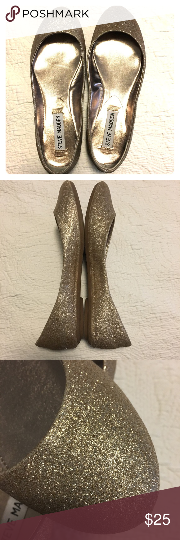 Steve Madden Sparkly Gold Flats Sparkly shoes, Gold
