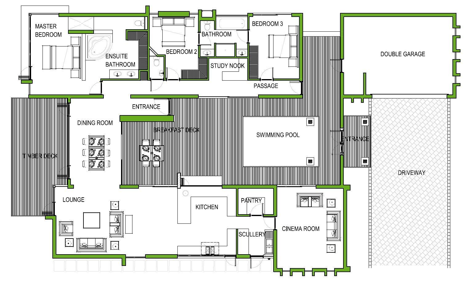 The Yellow Wood Lodge 3 Bedroom House Plan Pool House Plans House Plans Courtyard House Plans
