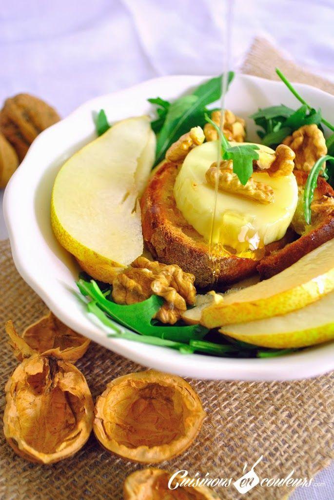 Salade d'hiver : Roquette, poire, noix et fromage de chèvre - Cuisinons En Couleurs