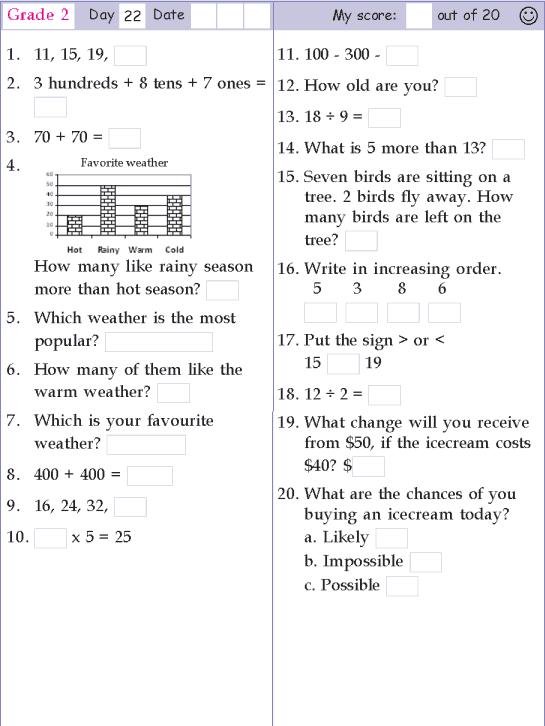 Mental Math Grade 2 Day 22 First Grade Math Worksheets 2nd Grade Math Worksheets Learning Math