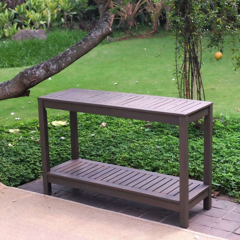 outdoor console table bbq bar stand garden patio wood furniture with lower shelf