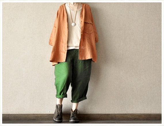 Green Loose Leisure Cotton Pants Women Clothing por clothingshow, $49.90