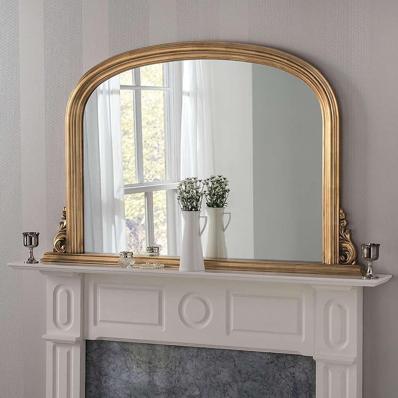 Yearn Decorative Overmantle Mirror 122x77cm Gold In 2020 Overmantle Mirror Mantle Mirror Mantel Mirrors