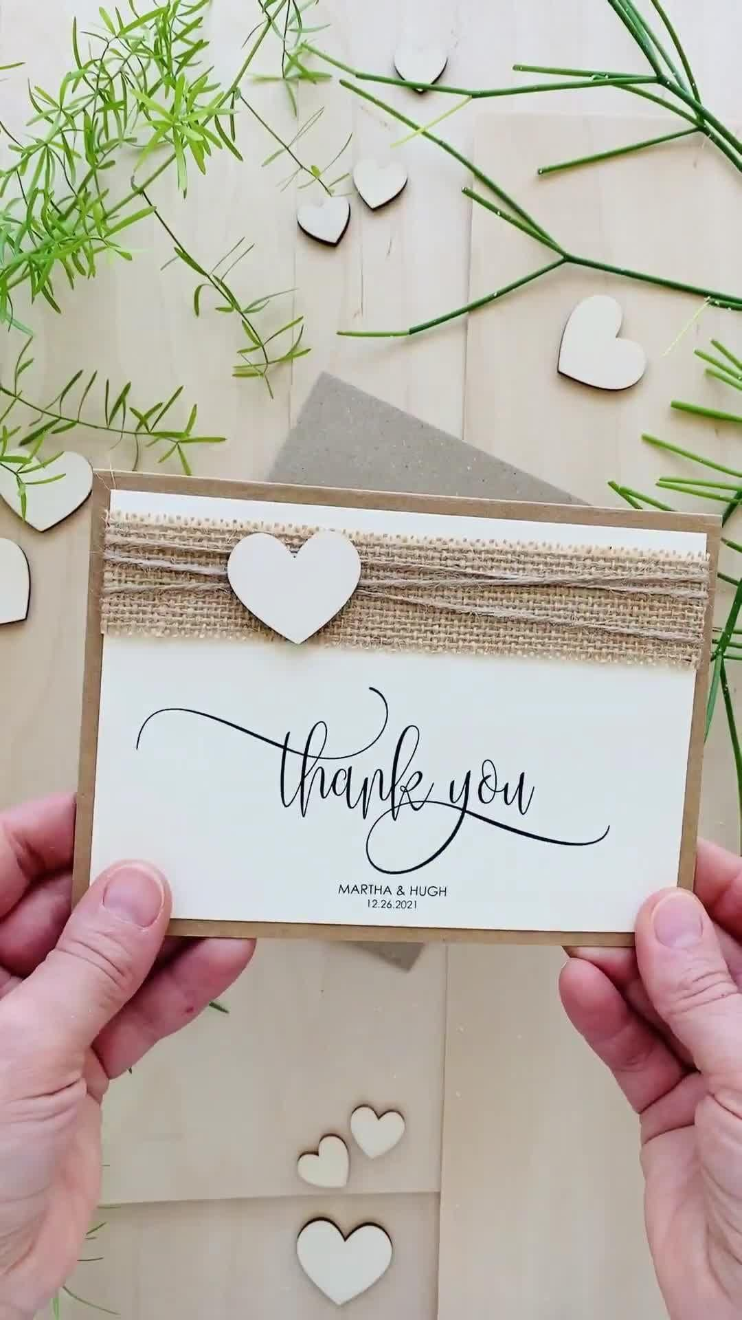 Photo of Heart Wedding Thank You Cards, Rustic Wedding Thank You Notes