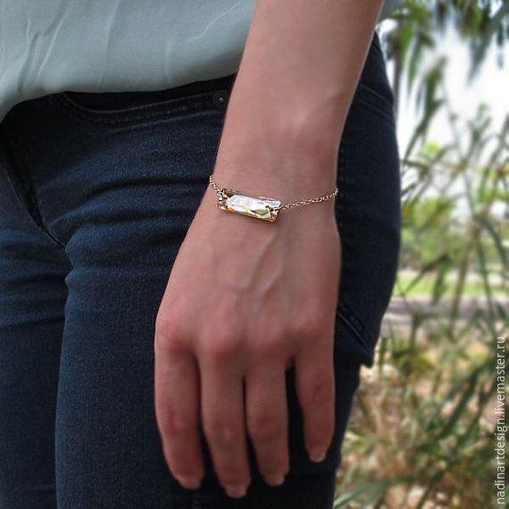 """Купить Золотой браслет """"Янтарный кристалл"""". Потрясающий браслет с гравировкой - золотой, браслет"""