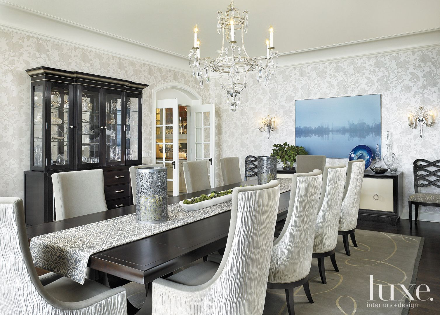 Long kitchen tables  Contemporary White Foyer with Checkered Tile Floors  LuxeSource