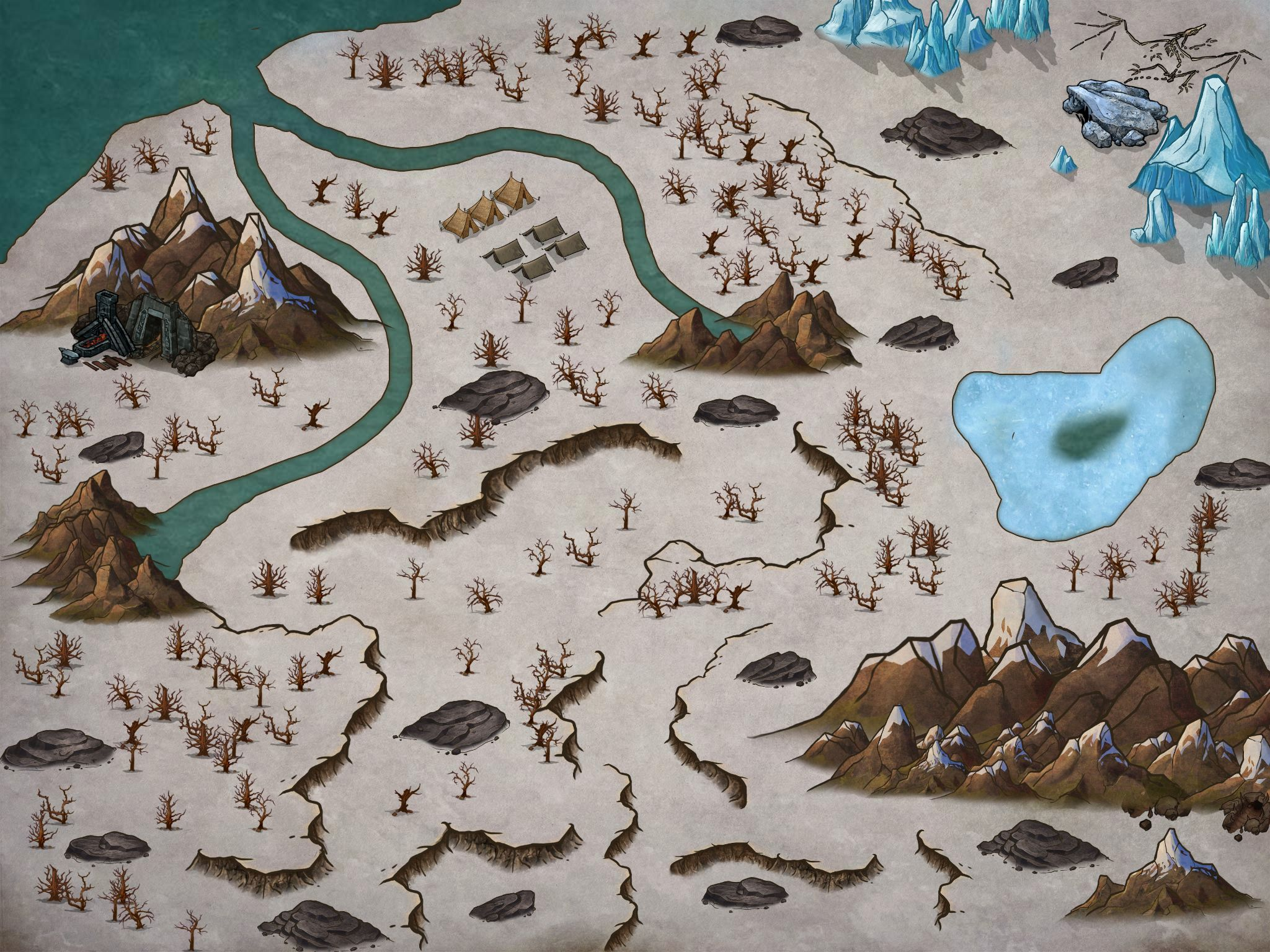 A Small Part Of The North Of My Dnd Campaign Made With Inkarnate