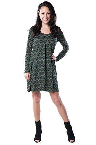5524ee85cc8 Amazon.com: Nanakee Front Pleated Tunic Dress - Flattering Belly Cover  Loose Fit Printed Shift Dress Long Sleeve T-Shirt Dress: Clothing