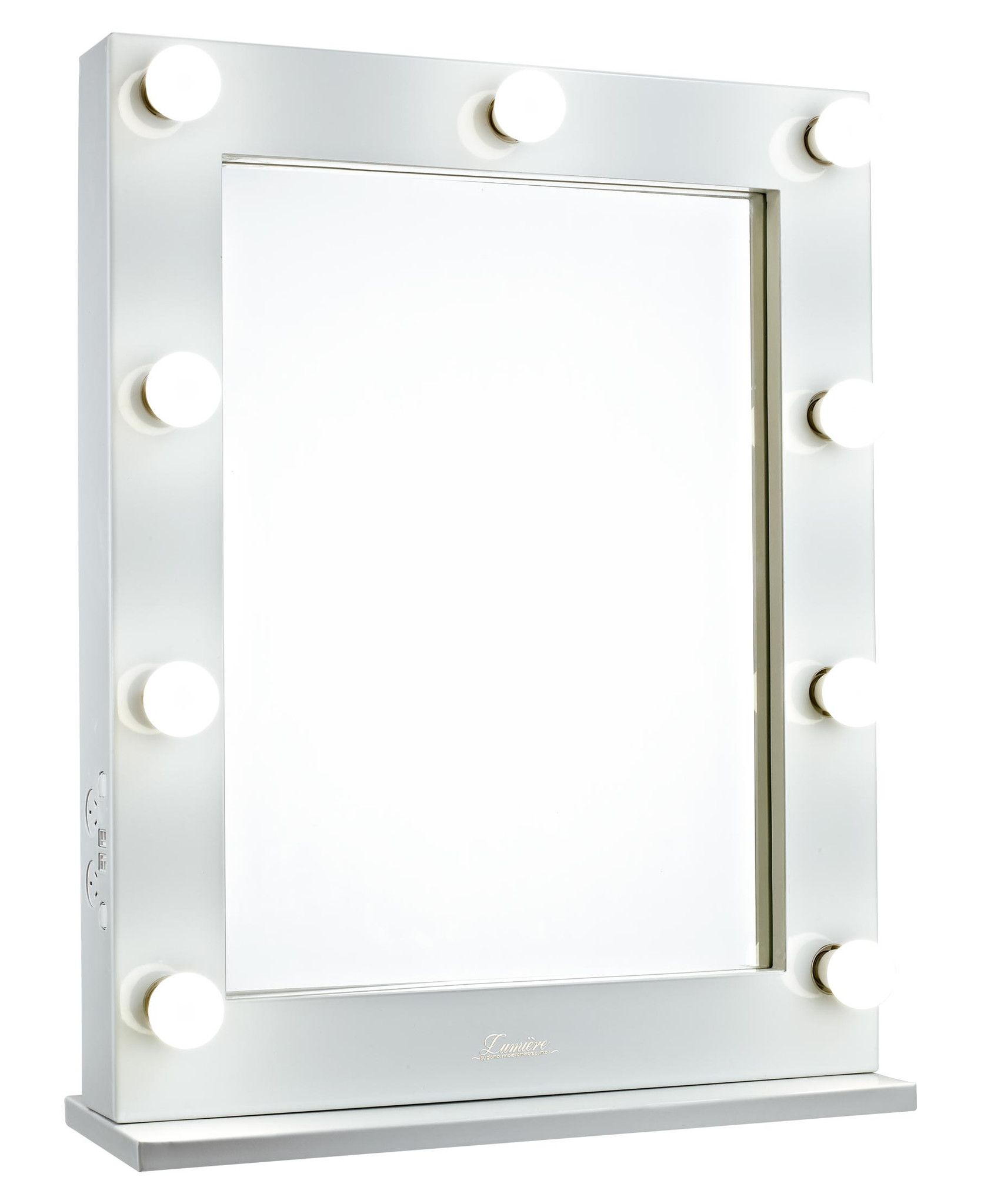 Glossy White Lighted Hollywood Vanity Makeup Mirror Front - Making a vanity mirror