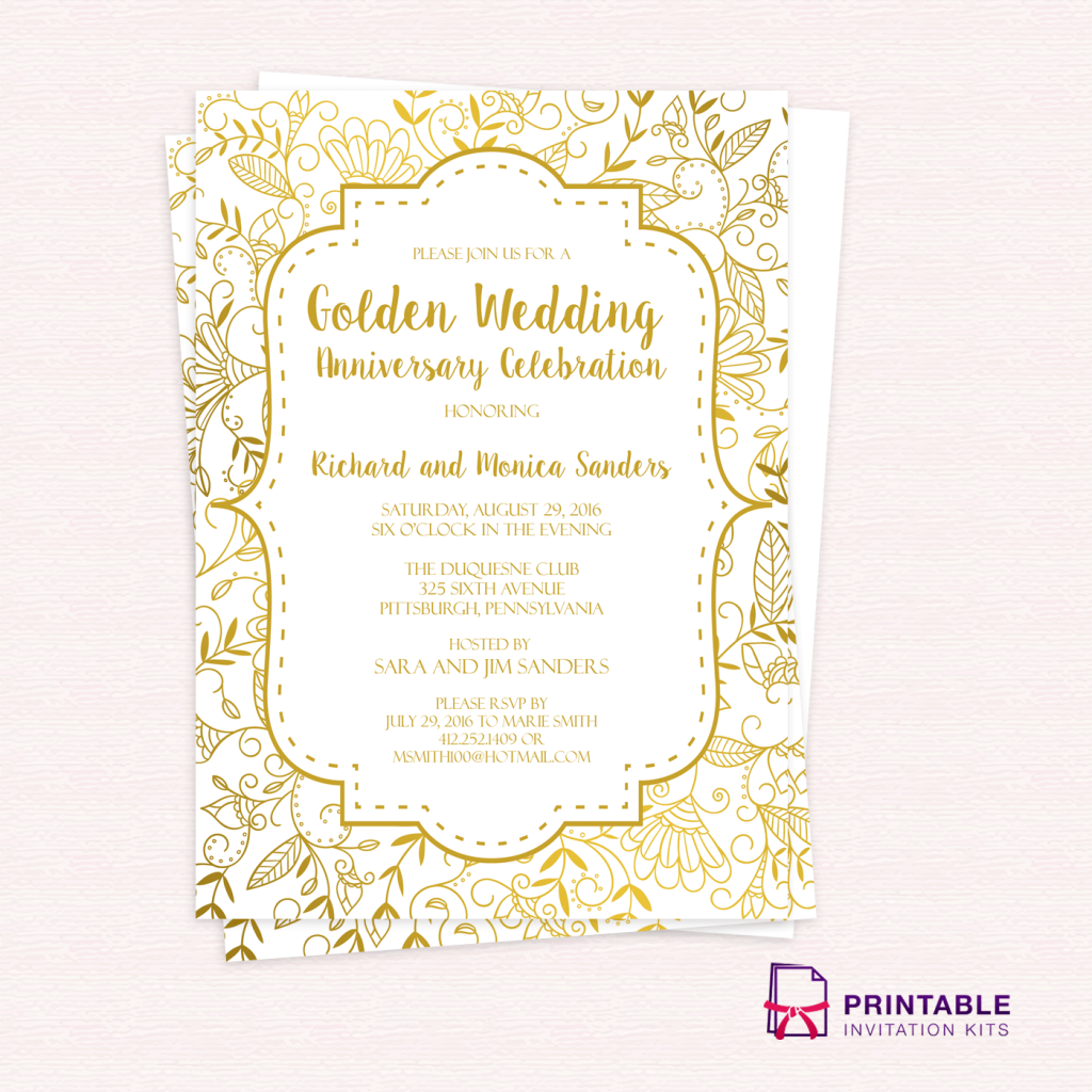 Golden Wedding Anniversary Invitation Template ← Printable