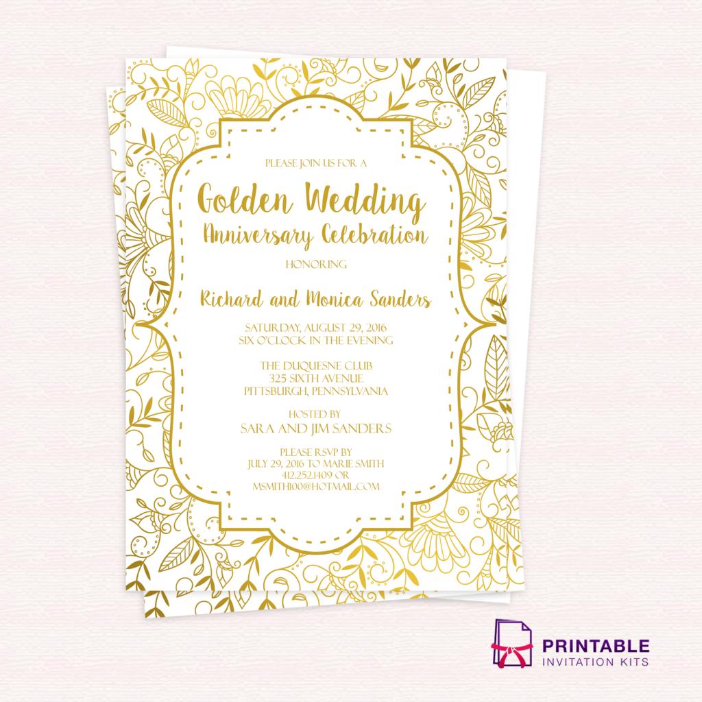 Free Pdf Template Golden Wedding Anniversary Invitation