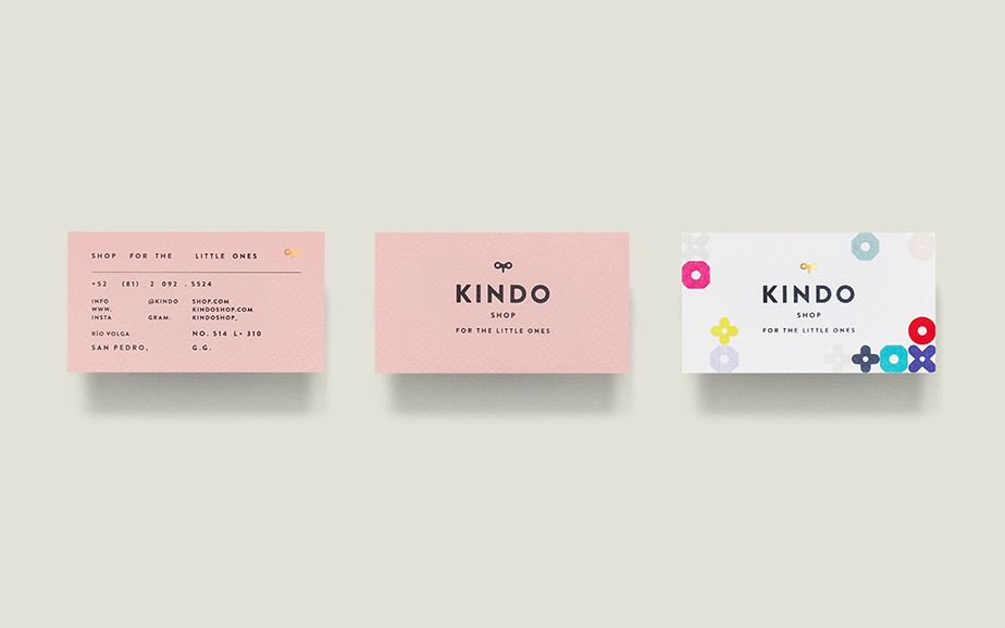 Kindo visual identity and business cards designed by Anagrama.