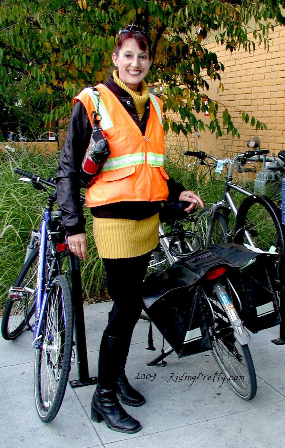 Grocery Shopping By Bicycle Hot Orange Reflective Bike Vest