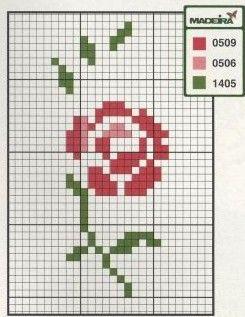 Point de Croix : Grille Fleur dans Fleurs 080201014853178861667364 | Ponto cruz, Cruz