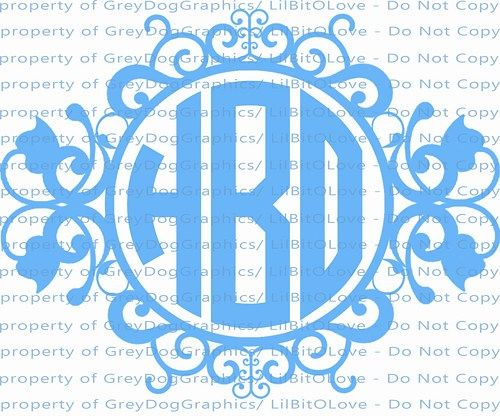 Personalized Monogram Vinyl Decal With Ornate Frame Initials - Monogrammed custom vinyl decals for car