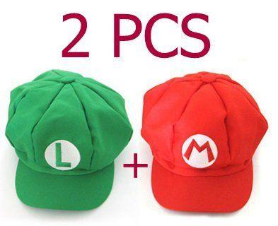 2PCS Super Mario Bros Hat Mario Luigi Cap Cosplay Red Green by Mario Bros 66d3d14552a8