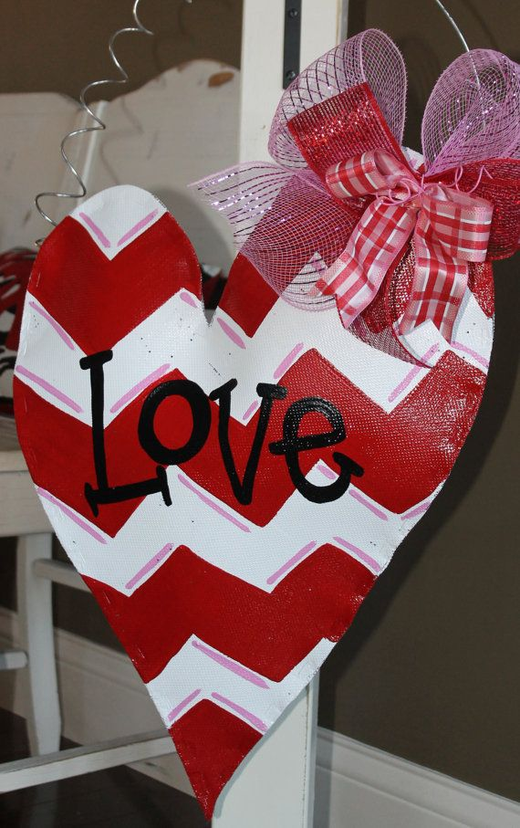 Red And White Chevron Heart Valentine S Door Hanger By