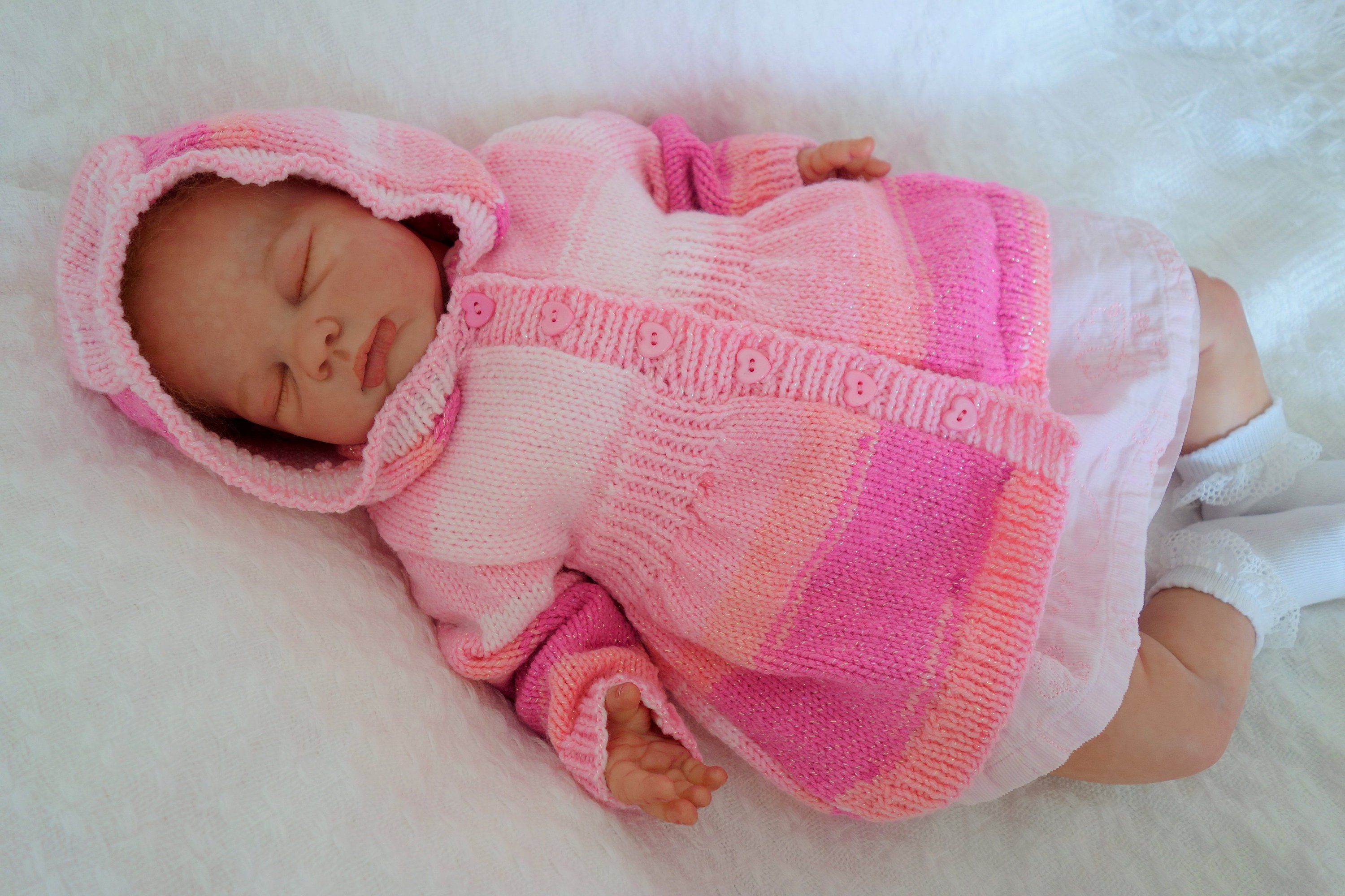 1b2e7cfc7cc1 Hand knitted baby girl s hooded sweater cardigan in pink variegated ...