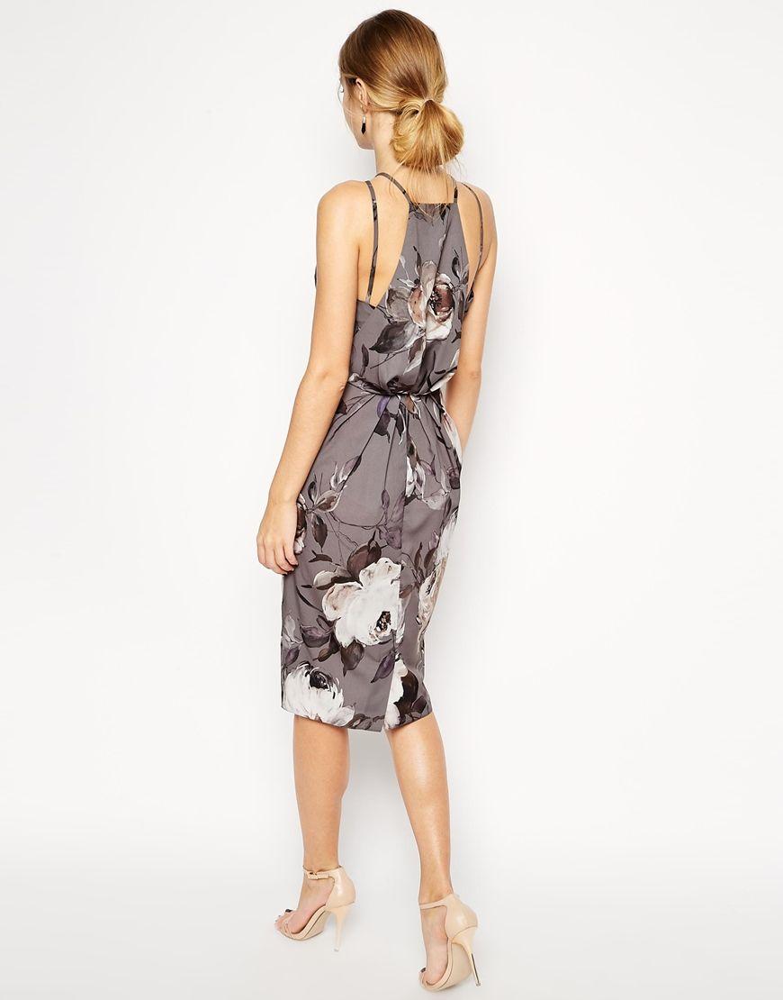 Asos wedding embellished floral drape back pencil midi dress - The Back Detail Asos Gray Floral Drape Back Midi Dress