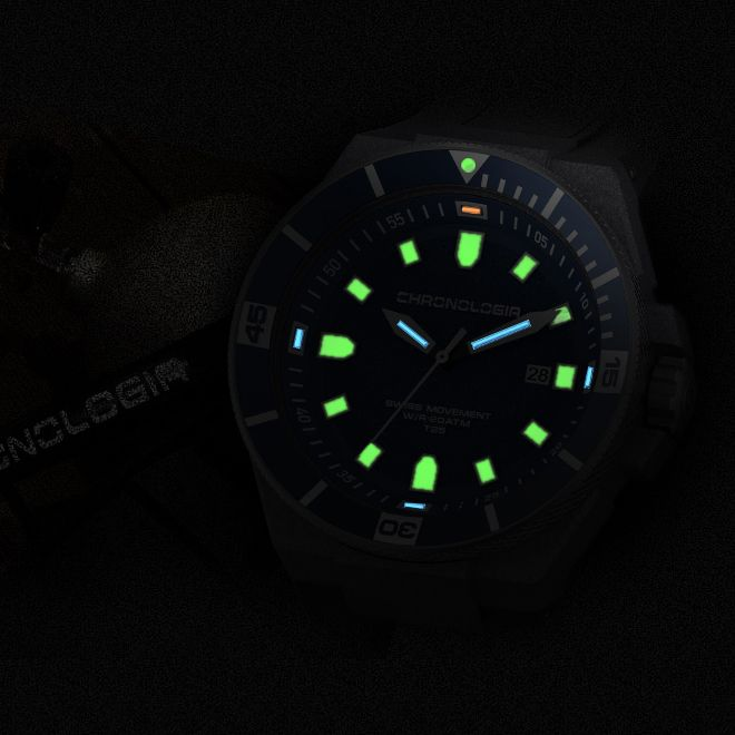 Embrace The Darkness Underwater With Chronologia Diving Watch Trigalight Technology