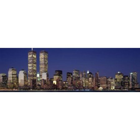 Skyscrapers in a city World Trade Center Manhattan New York City New York State USA Canvas Art - Panoramic Images (36 x 12)