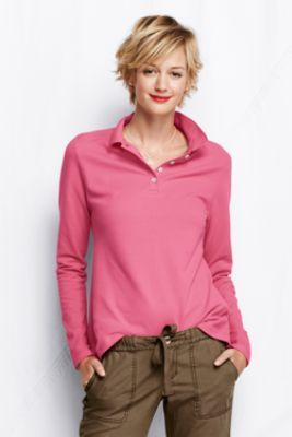 Women's Long Sleeve Mesh Polo Shirt from Lands' End
