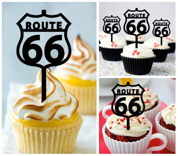 Ca412 New Arrival 10 Pcs Decorations Cupcake Topper Route 66 Wedding Silhouette
