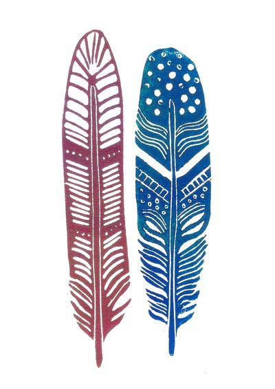 Feather linoprint