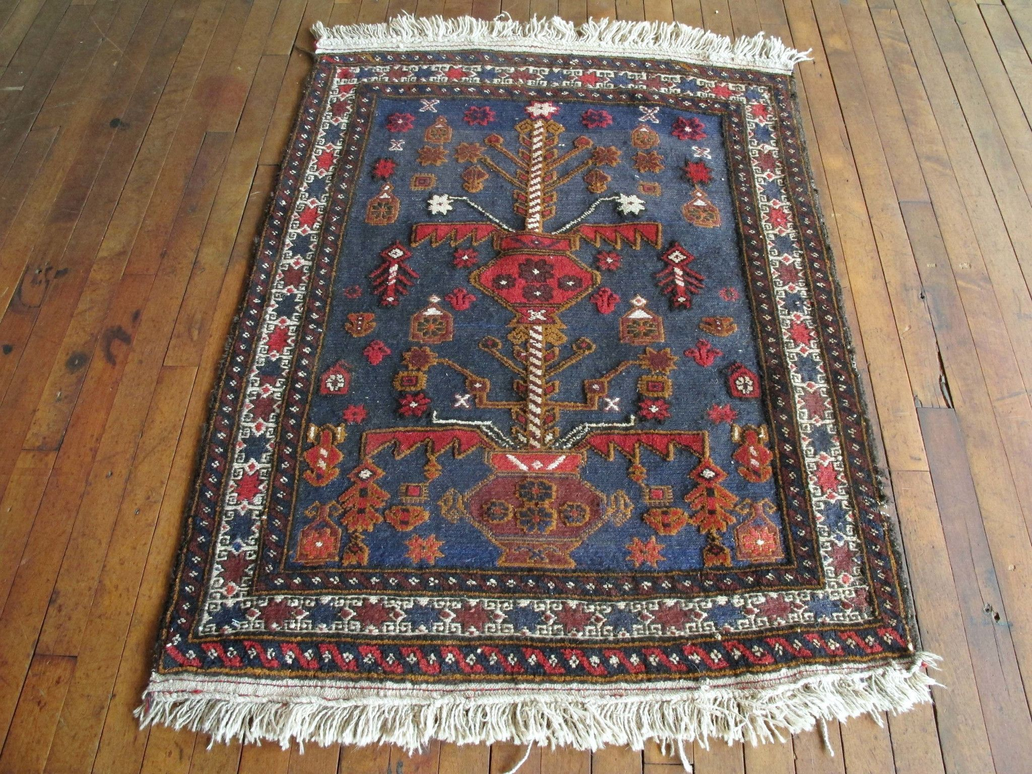 She Is A Beautiful 50 Year Old Unique Looking Vintage Persian Kilim Rug Afina S Bold Dark Navy Blue Red And Gold Accents Low Pile Make Her Perfect