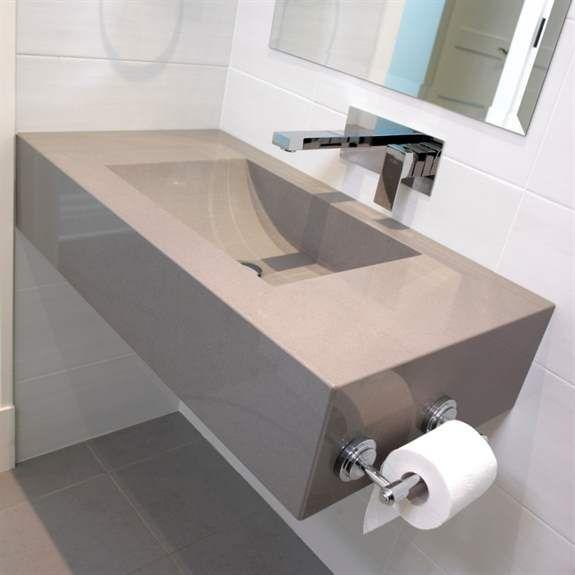 Silestone grey expo custom sink casa de banho for Silestone sink