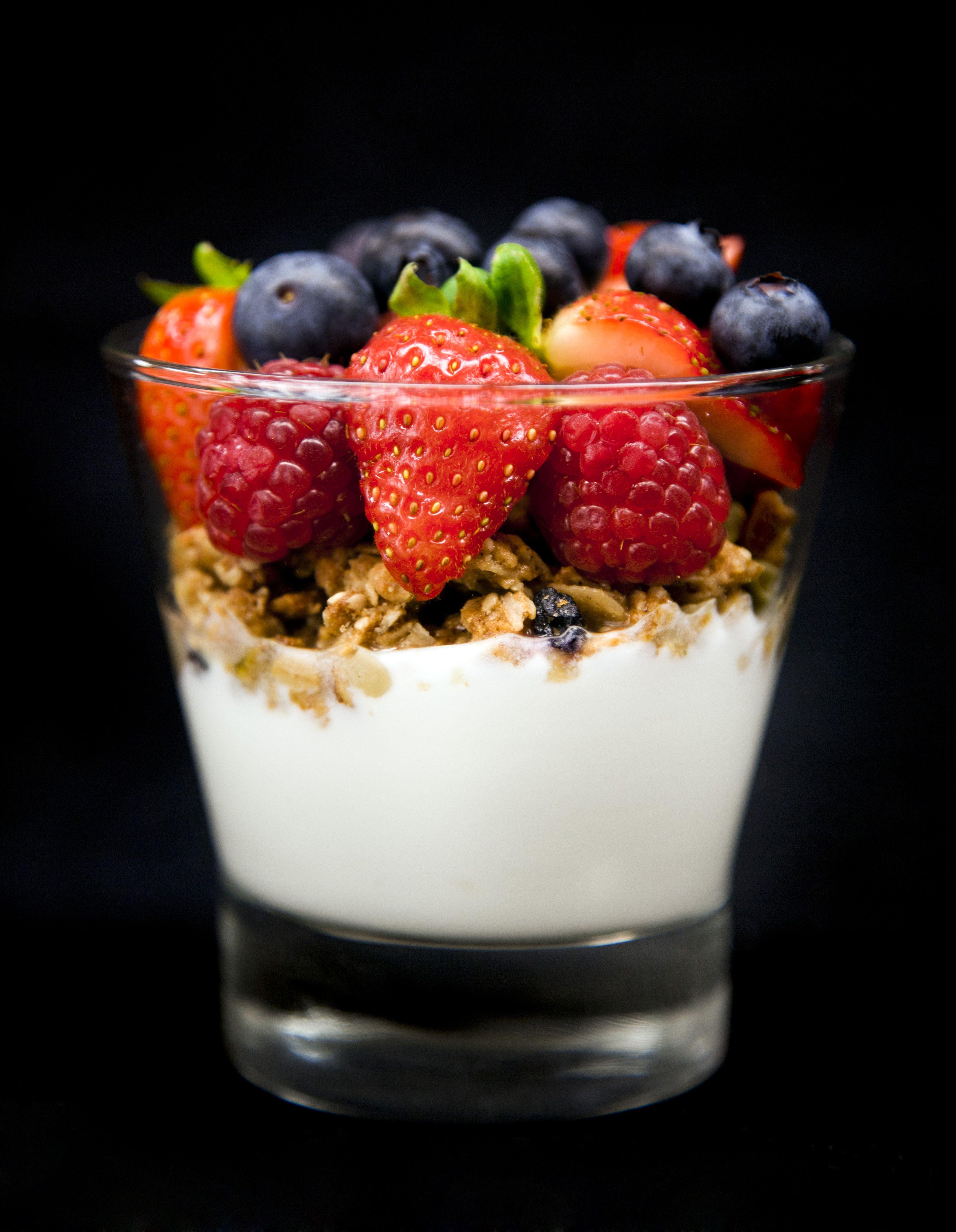 my favourite breakfast food, berry yogurt parfait...also a ...