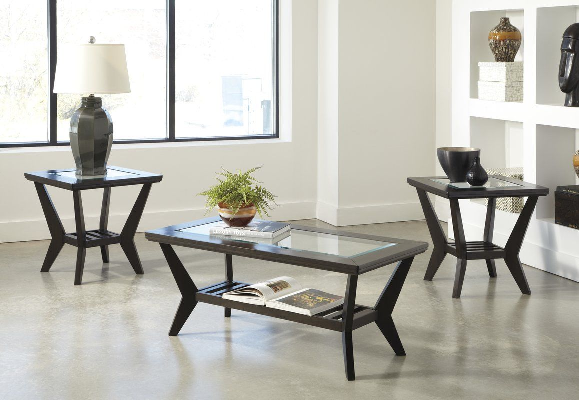 Woodrow 3 Piece Coffee Table Set In Brown With Images Living