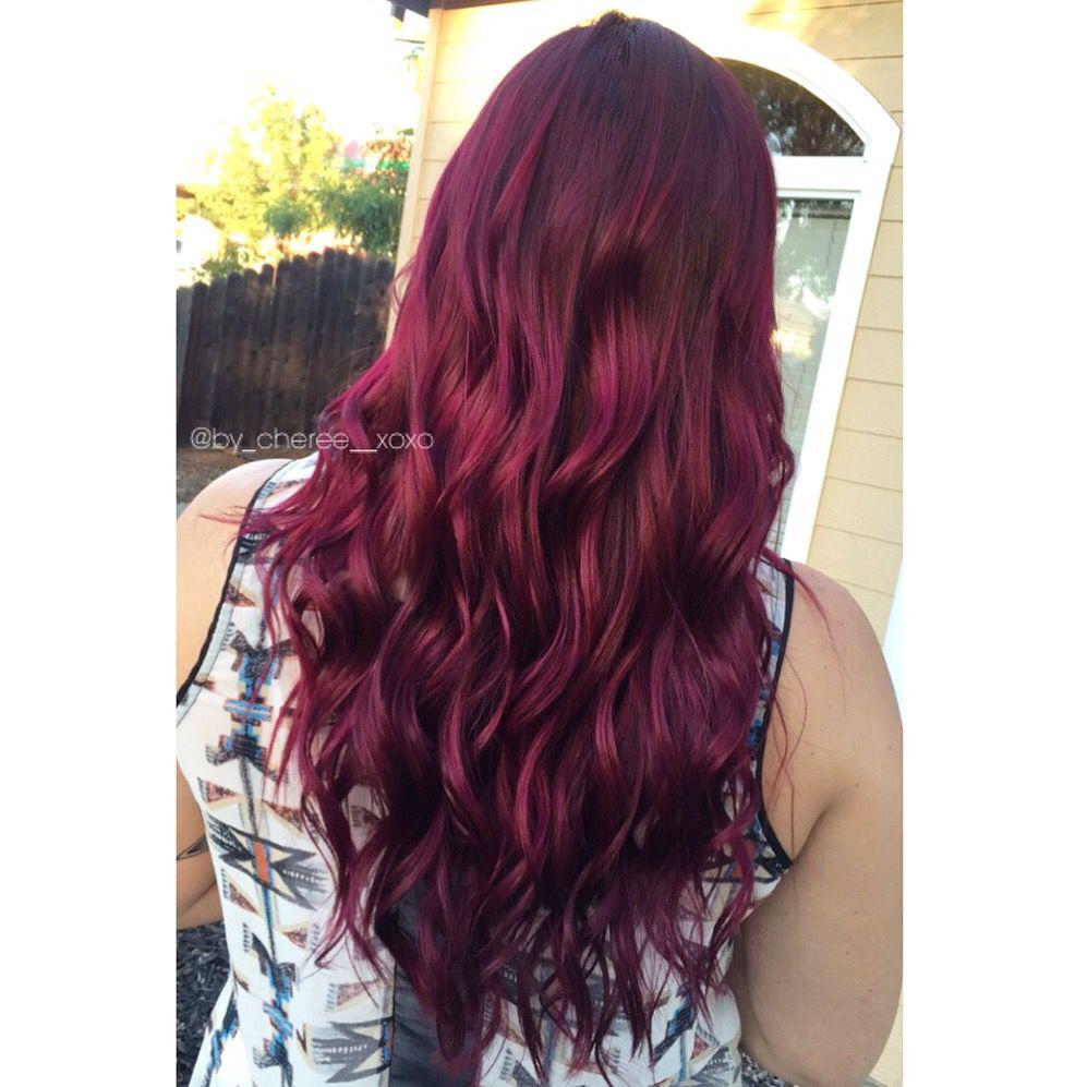 Merlot hair color - Magenta Merlot Hair Hairbycheree Haircolor Joico Colorintensity Pink Hair Long Healthy Inspiration
