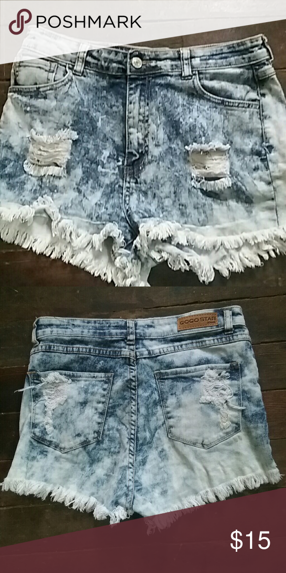 High waisted shorts Acid wash gogo star Shorts Jean Shorts