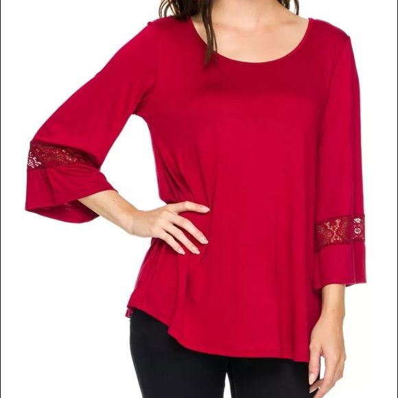 Lace Piko Top Lace contrast Piko top. New but without tags. I have small medium and large available! Tops Tunics