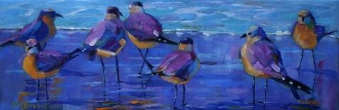 BIG MAMA AND THE GULLS WATCHING THE TIDE ROLL IN, painting by artist Elizabeth Blaylock