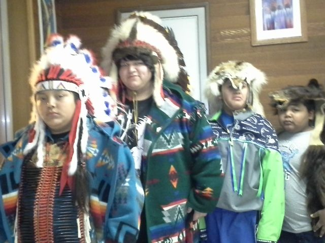 "Christmas Nativity Play ""Old Story in a New World"" at the Toppenish Longhouse, Toppenish, WA.  Two Chiefs and two hunters"