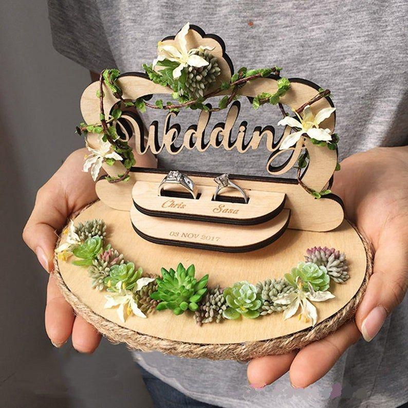 Wedding Ring Holder Wooden Wedding Decoration
