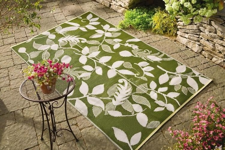 outdoor-teppiche-design-bunt-muster-floralmuster-gruen-weiss, Hause und garten