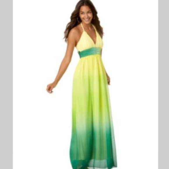 Yellow and green ombré maxi Ombré green and yellow sheer