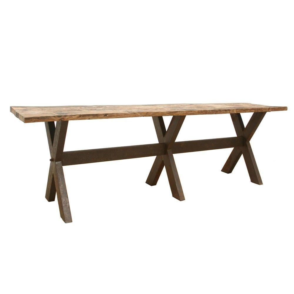 Brucs antique pine large table with iron legs antique