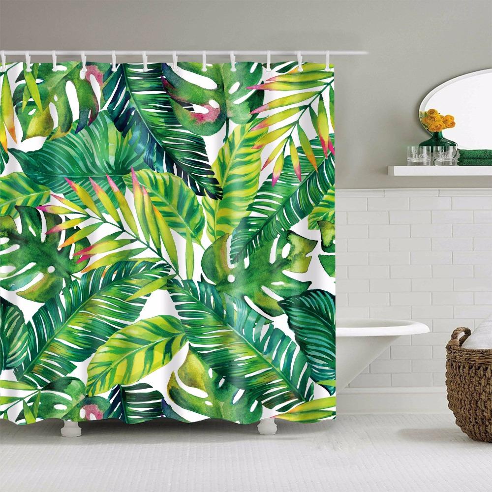 Acuarela Tela Impermeable Baño de hoja de selva tropical ganchos de la Cortina de ducha