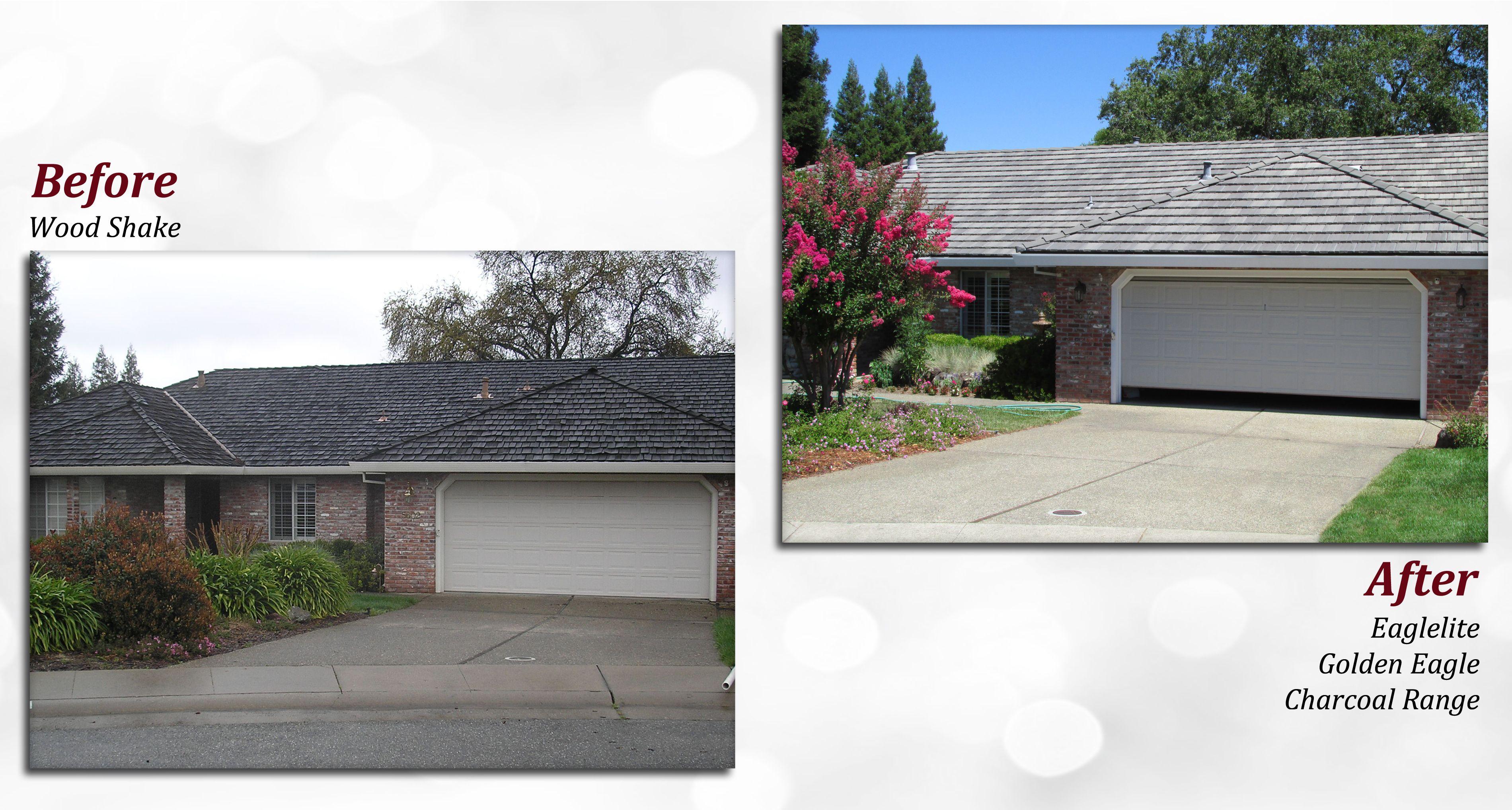 Before & after of a Eaglelite Tile Roof. Profile: Golden Eagle ...